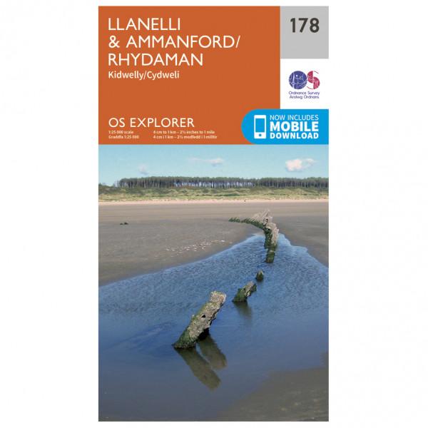 Ordnance Survey - Llanelli / Ammanford / Rhydaman - Vandrekort
