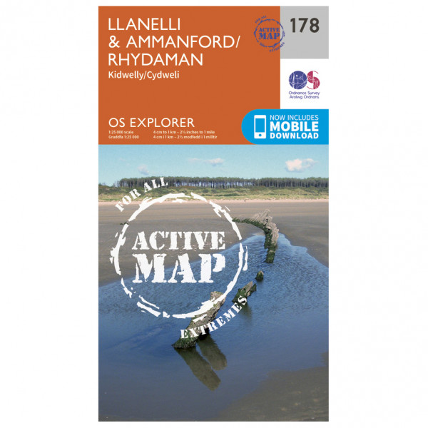 Ordnance Survey - Llanelli / Ammanford / Rhydaman Waterproof - Hiking map
