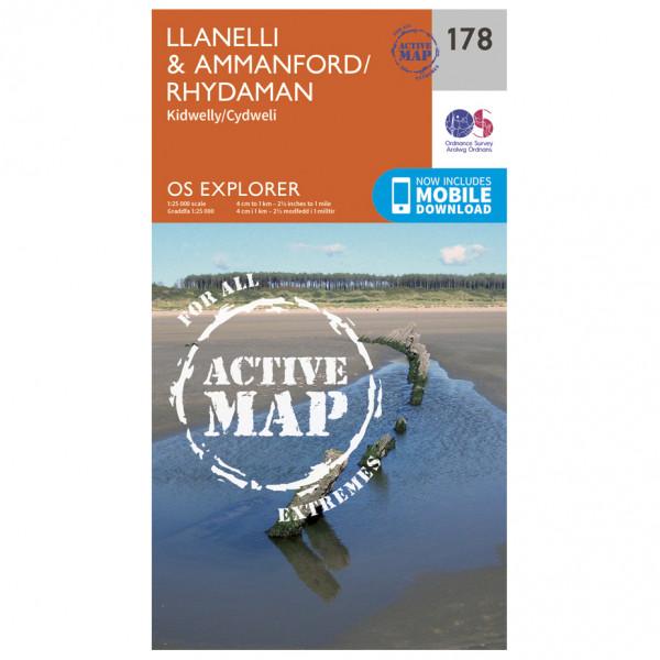Ordnance Survey - Llanelli / Ammanford / Rhydaman Waterproof - Vaelluskartat