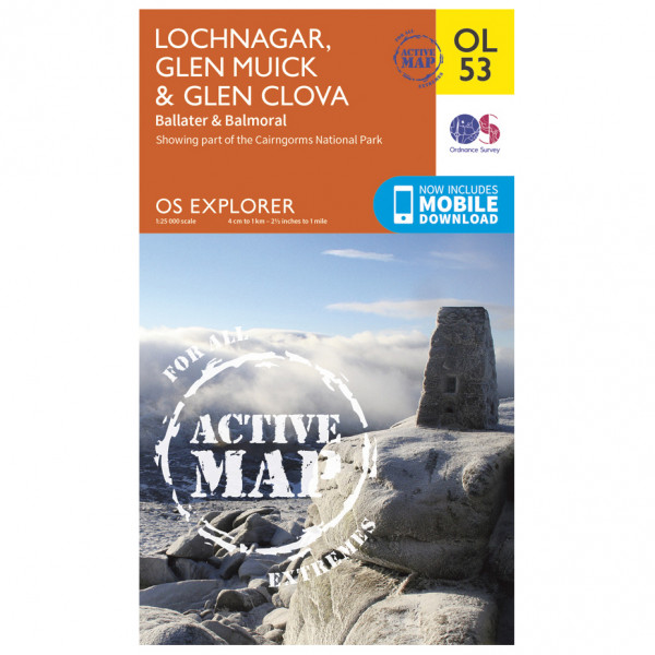 Ordnance Survey - Lochnagar / Glen Muick / Glen Clova Waterproof - Hiking map