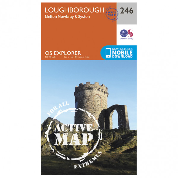 Ordnance Survey - Loughborough / Melton Mowbray / Syston Waterproof EXPL246 - Wanderkarte