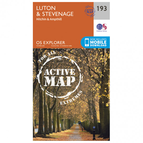 Ordnance Survey - Luton / Stevenage / Hitchin / Ampthill Waterproof - Vaelluskartat