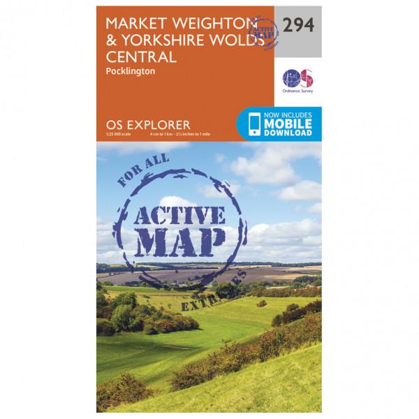 Ordnance Survey - Market Weighton / Yorkshire Wolds Central Waterproof - Vandrekort
