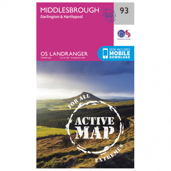 Ordnance Survey - Middlesbrough / Darlington Waterproof - Hiking map