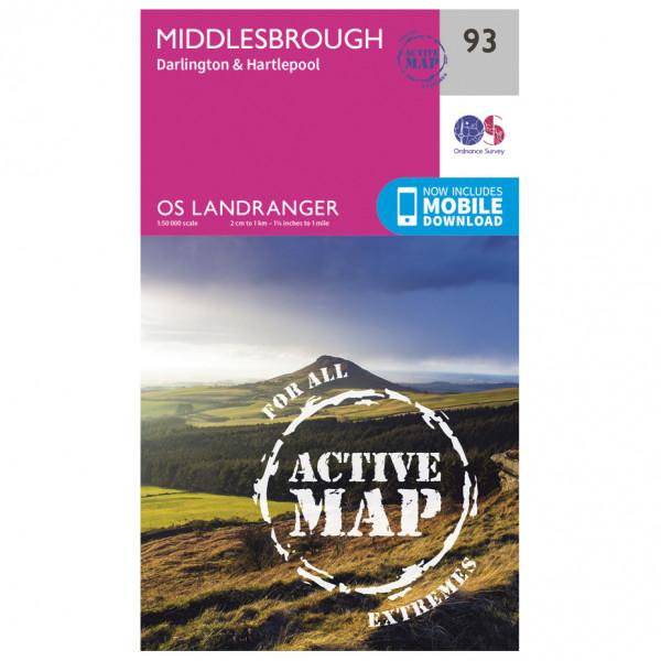 Ordnance Survey - Middlesbrough / Darlington Waterproof - Vandringskartor