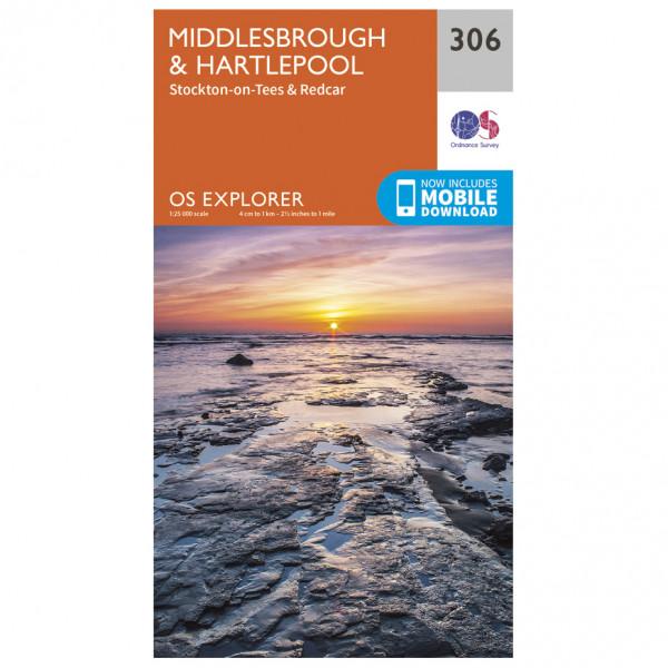 Ordnance Survey - Middlesbrough / Hartlepool EXP306 - Wanderkarte