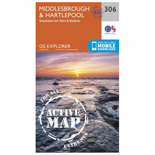 Ordnance Survey - Middlesbrough / Hartlepool Waterproof EXPL306 - Wanderkarte