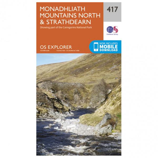 Ordnance Survey - Monadhliath Mountains North / Strathdearn - Wanderkarte
