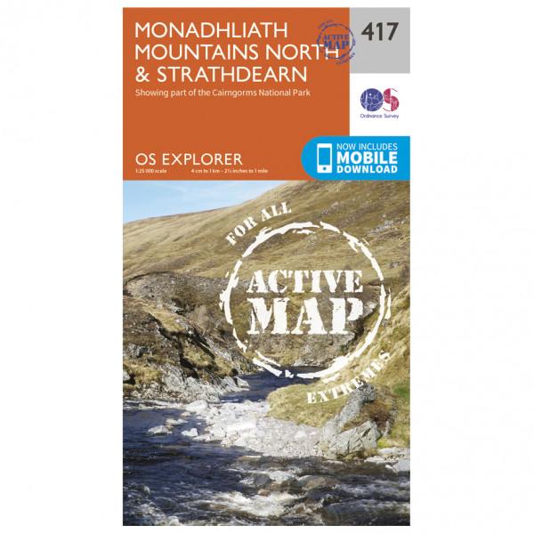Ordnance Survey - Monadhliath Mountains North / Strathdearn Waterproof - Vandringskartor