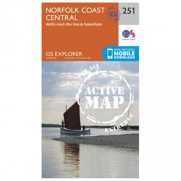 Ordnance Survey - Norfolk Coast Central Waterproof - Hiking map