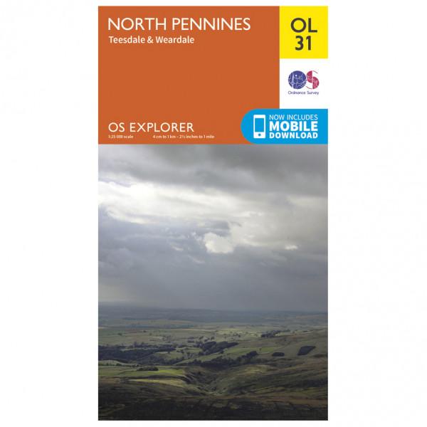 Ordnance Survey - North Pennines / Teesdale / Weardale Outdoor EGMOL031 - Wanderkarte