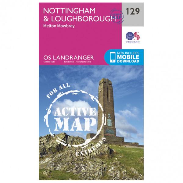 Ordnance Survey - Nottingham / Loughborough Waterproof - Vaelluskartat