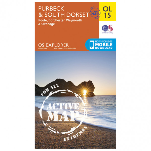 Ordnance Survey - Purbeck And South Dorset / Poole Waterproof - Hiking map