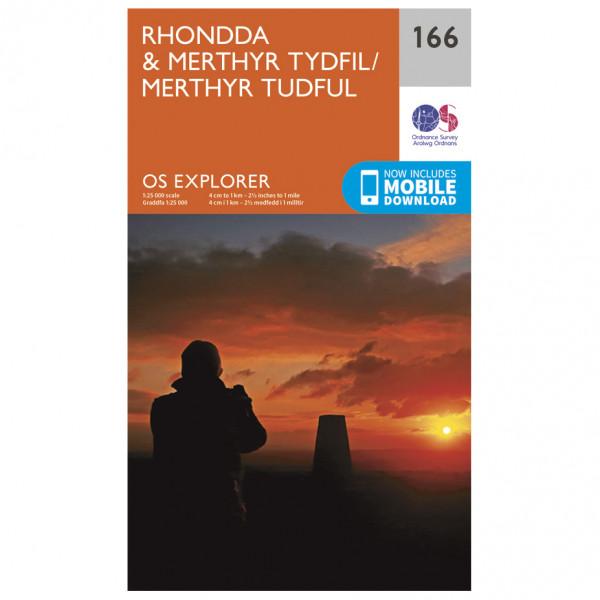 Ordnance Survey - Rhondda / Merthyr Tydfil EXP166 - Wanderkarte