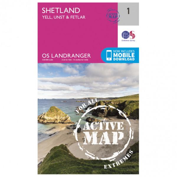 Ordnance Survey - Shetland - Yell / Unst / Fetlar Waterproof - Vandrekort