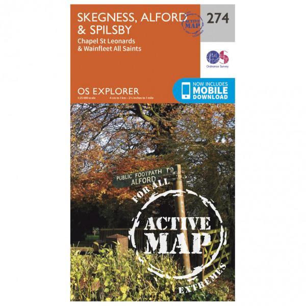 Ordnance Survey - Skegness / Alford / Spilsby Waterproof - Vandrekort