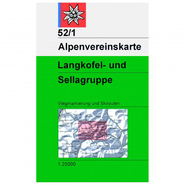 DAV - 52/1 Langkofel-Sella-Gruppe - Wandelkaart