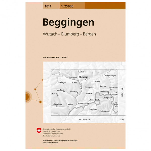 Swisstopo - 1011 Beggingen - Mapa de senderos