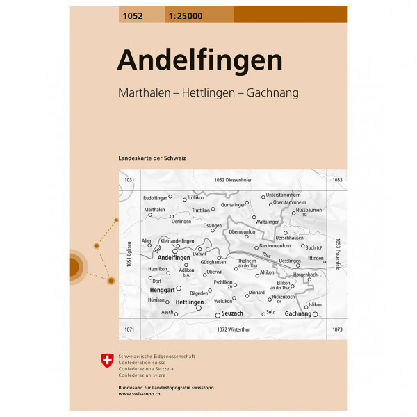 Swisstopo - 1052 Andelfingen - Carte de randonnée