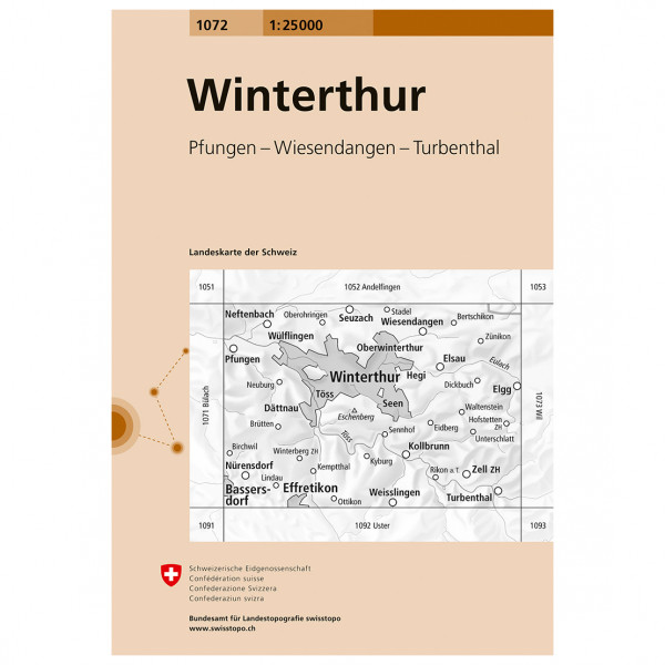 Swisstopo -  1072 Winterthur - Vaelluskartat