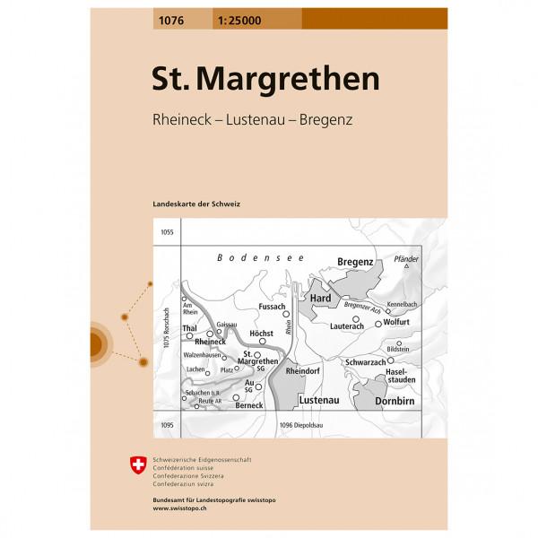 Swisstopo - 1076 St. Margrethen - Mapa de senderos