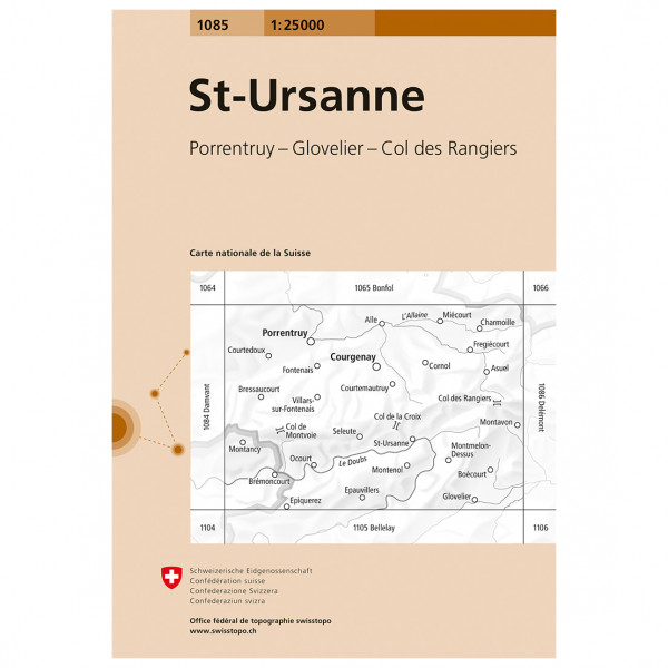 Swisstopo -  1085 St-Ursanne - Wanderkarte