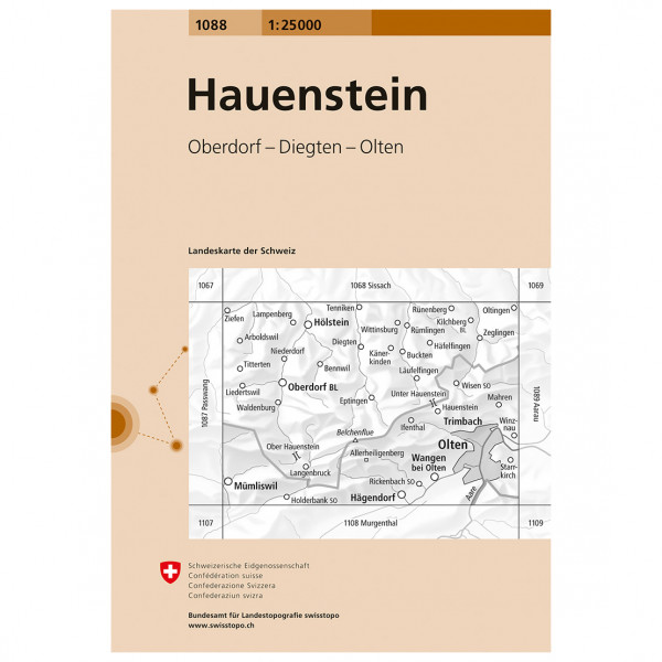 Swisstopo -  1088 Hauenstein - Wandelkaart