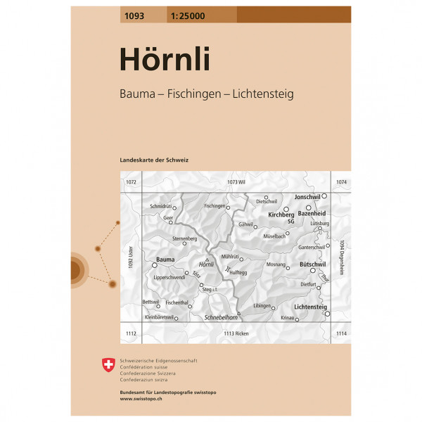 Swisstopo -  1093 Hörnli - Wandelkaart