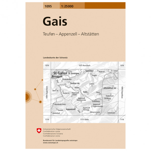 Swisstopo -  1095 Gais - Hiking map