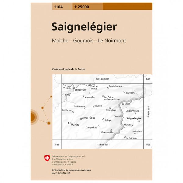 Swisstopo -  1104 Saignelégier - Mapa de senderos