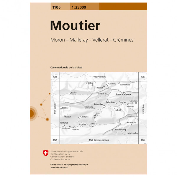 1106 Moutier - Hiking map