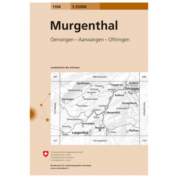 Swisstopo -  1108 Murgenthal - Vandrekort