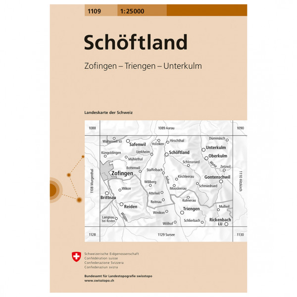 Swisstopo -  1109 Schöftland - Hiking map