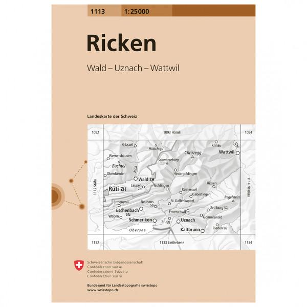 Swisstopo - 1113 Ricken - Vandrekort