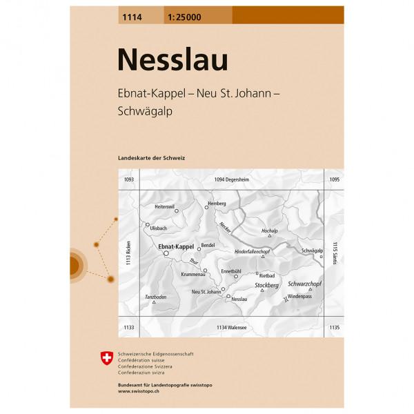 Swisstopo -  1114 Nesslau - Wanderkarte