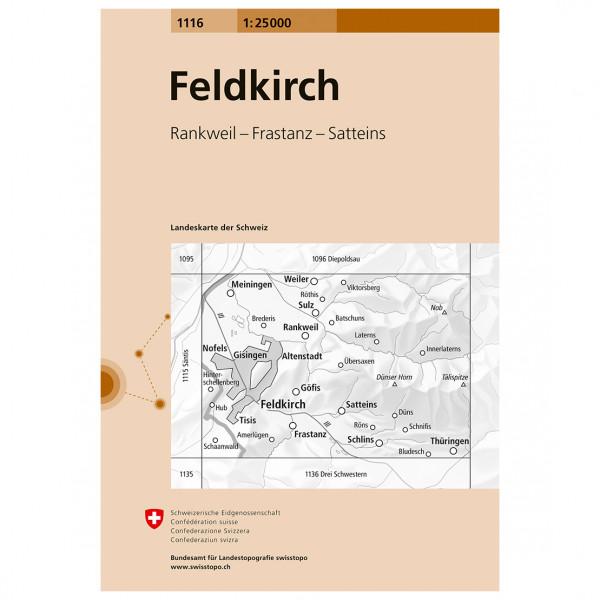 Swisstopo -  1116 Feldkirch - Hiking map