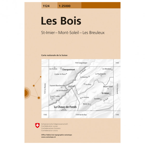 Swisstopo - 1124 Les Bois - Hiking map