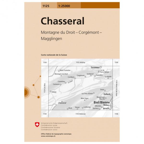 Swisstopo - 1125 Chasseral - Mapa de senderos