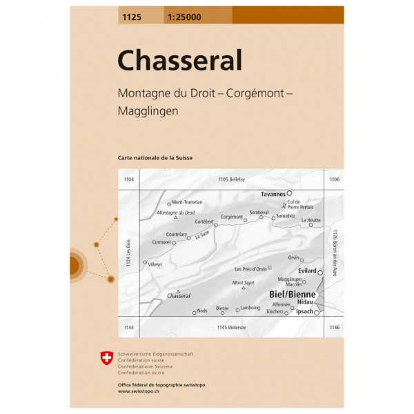 Swisstopo - 1125 Chasseral - Wandelkaart
