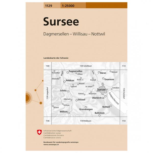 Swisstopo -  1129 Sursee - Vandrekort