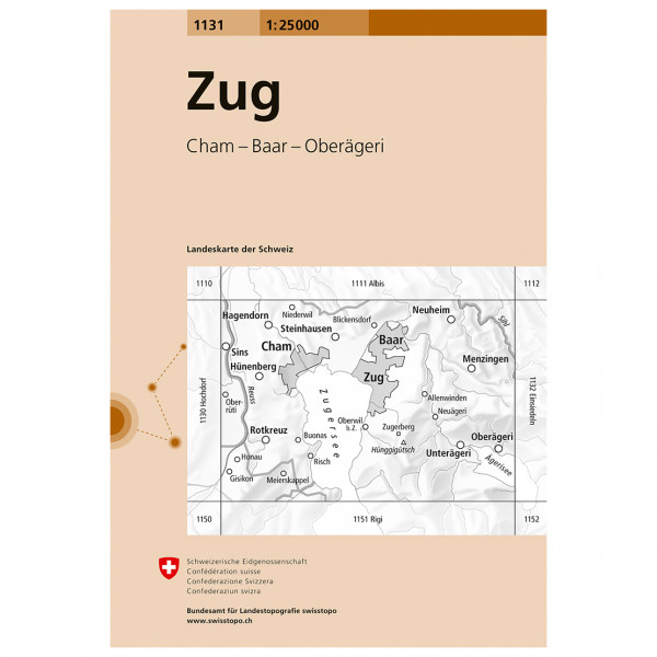 Swisstopo -  1131 Zug - Vandringskartor