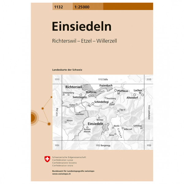 Swisstopo - 1132 Einsiedeln - Hiking map