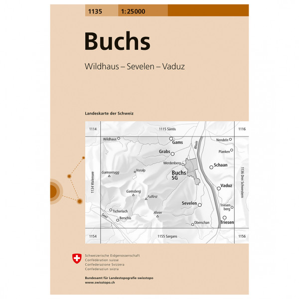 Swisstopo -  1135 Buchs - Vandringskartor
