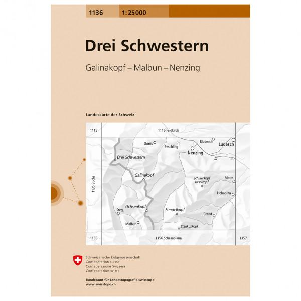 Swisstopo -  1136 Drei Schwestern - Hiking map