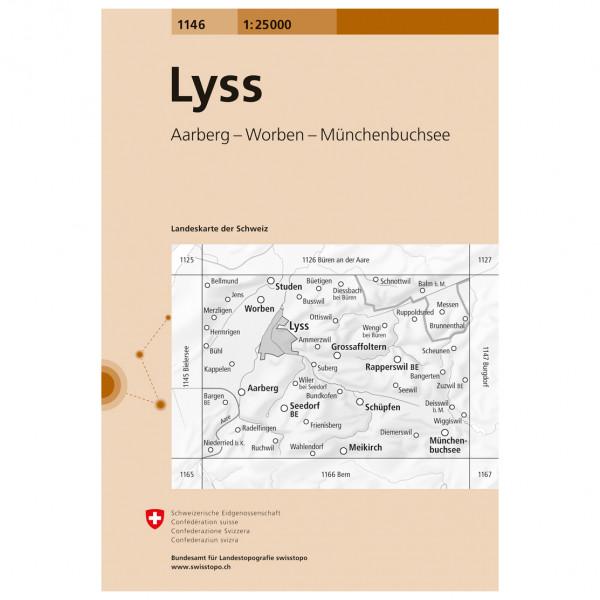 Swisstopo -  1146 Lyss - Wandelkaarten