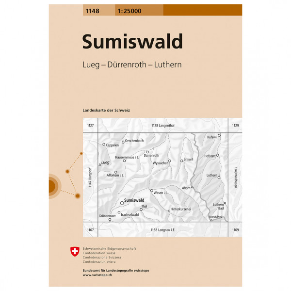Swisstopo -  1148 Sumiswald - Vaelluskartat