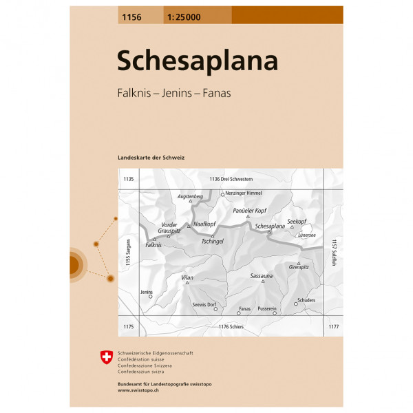 Swisstopo -  1156 Schesaplana - Mapa de senderos