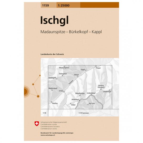 Swisstopo -  1159 Ischgl - Wandelkaarten