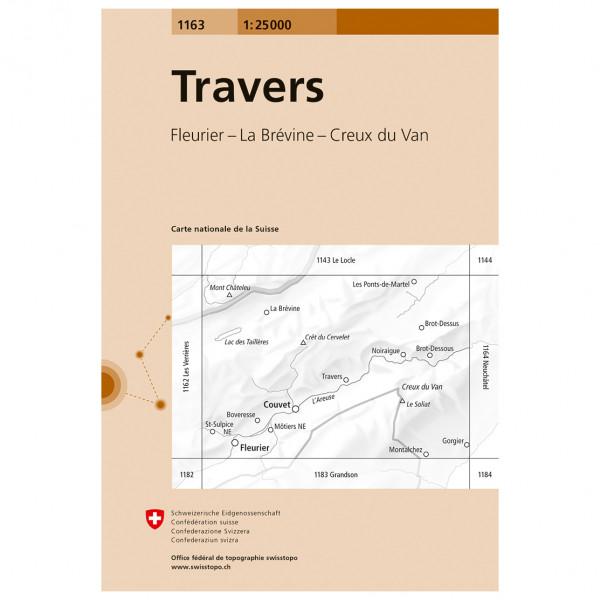 Swisstopo -  1163 Travers - Wandelkaart