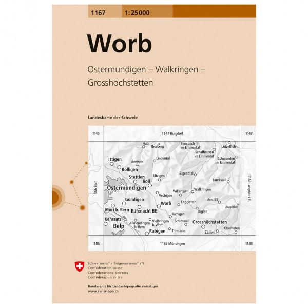 Swisstopo -  1167 Worb - Vandrekort